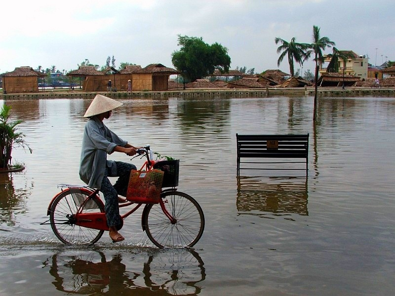 pond cyclist-in-hoian
